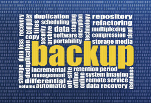 backup and data recovery word cloud with a binary background
