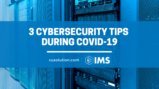 Data server with text overlay '3 Cybersecurity Tips During Covid-19'